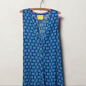 Anthropologie Ada Tank Bright Blue Aztec Print